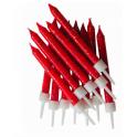 Bougies rouge pailletées, 12 pièces