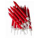 Red glitter candles, 12 pieces
