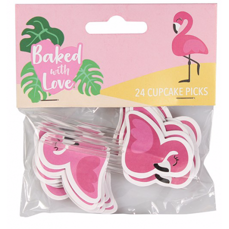 Decorative Pic flamingo, 24 pieces