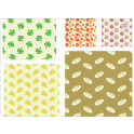 Beeswax, reusable food wraps, 5 pieces