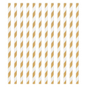 Paper Straw gold and white diagonal stripes, 24 pieces