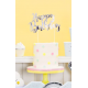 Happy Birthday cake topper silver