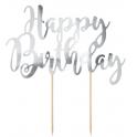 Décoration Happy Birthday carton argenté