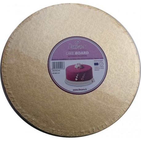 Cake Board Golden, diameter 25 cm, 12 mm thick