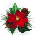 Poinsettia & ivy spray decoration, 1piece