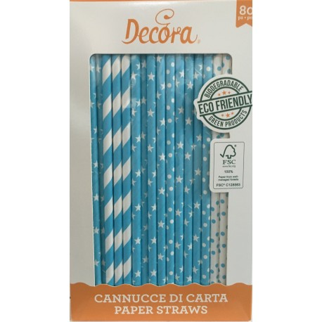 Decora - Paper Straw blue mix, 80 pieces