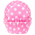 Baking Cups white polka on pink, 50 pieces