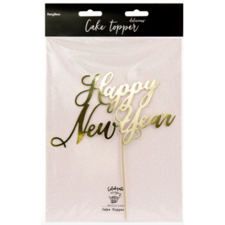 Happy Happy New Year cake topper gold