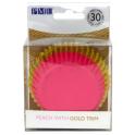 Cupcake Förmchen Pfirsichfarbene mit goldenem Rand, 30 Stück