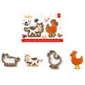 Decora - Emporte-pièce poulet & vache, set de 2