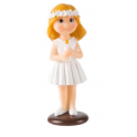 Communion girl topper, with candle & flower in hair, 10 cm