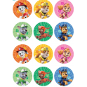 Paw Patrol toppers round, 6 cm, 12 pieces