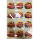 Toppers round Cars, 6 cm, 12 pieces