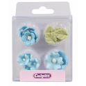 Culpitt Icing Decorations flower & leaves blue, 12 pieces