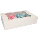 Funcakes - Boîte à cupcakes blanche, 12 cupcakes, 3 pièces