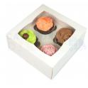Boîte à cupcakes blanche Funcakes, 4 cupcakes, 3 pièces