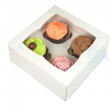 Funcakes - Cupcake Box white, Standard, 4-cavity with inserts, 3 pieces