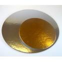 Planche dorée/argentée ronde, diamètre 15.2 cm, 3 pièces