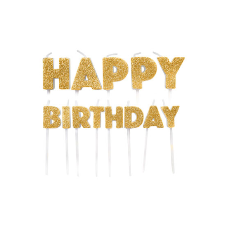 Happy Birthday Candle glitter gold, set of 13 pieces