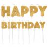 Bougies Happy Birthday doré paillettes, set de 13 pièces