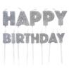 Bougies Happy Birthday argenté paillettes, set de 13 pièces