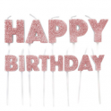 Happy Birthday Candle glitter rose gold, set of 13 pieces