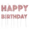 Bougies Happy Birthday rose doré paillettes, set de 13 pièces