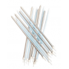Tall candles baby blue & silver, 16 pieces