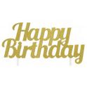 Topper Happy Birthday doré glitter