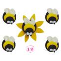 AH - Décoration en sucre bourdon/abeille, 5 pièces