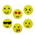AH - Décoration en sucre emoji/smiley, 6 pièces