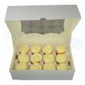 Boîte à cupcakes mini, blanches, pour 12 pièces avec séparateur, ECO