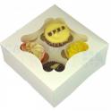 Boîte à cupcake blanche, pour 4 pièces avec séparateur ECO