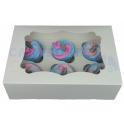 Boîte à cupcakes blanche, pour 6 pièces avec séparateur, ECO