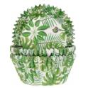 Caissettes à cupcakes feuilles vertes, 50 pièces