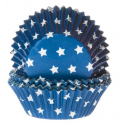 Caissettes à cupcakes étoiles blanches sur bleu, 50 pièces
