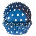 Cupcake Förmchen weisse Sterne auf Blau, 50 Stück