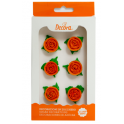 Decora Small red Sugar Roses & leaves, 6 pieces