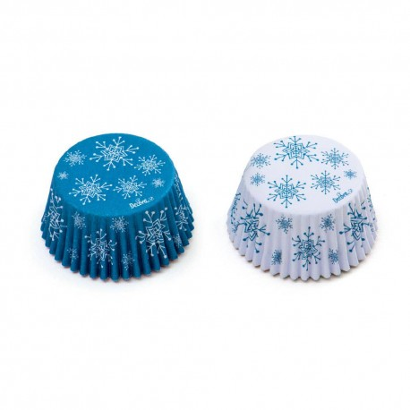 Baking Cupcake cups Blue Snowflakes, 36 pieces