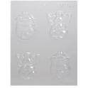 CK - Moule en plastique rigide pour chocolat renne et bonhomme de neige, 4 cavités