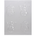 CK - Plastic mold for chocolate reindeer and snowman, 4 cavities