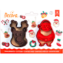 Decora - Cookie Cutter reindeer & santa claus, 2 pieces