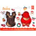 Decora - Emporte-pièce renne et Père-Noël, 2 pièces