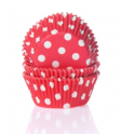 Caissettes à cupcakes rouge à pois, 50 pièces