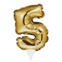 Topper Numéro gonflable doré 5