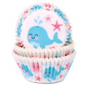 Baking Cups whale, 50 pieces