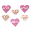 AH - Décoration en sucre love & diamants, 6 pièces