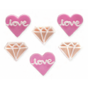 AH -  Icing Decorations Love & diamonds forever, 6 pieces