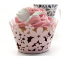 Ibili - Cupcake Wraps Pink flowers, 10 pieces