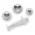 Ibili - emporte-pièce avec piston coeurs, set de 3